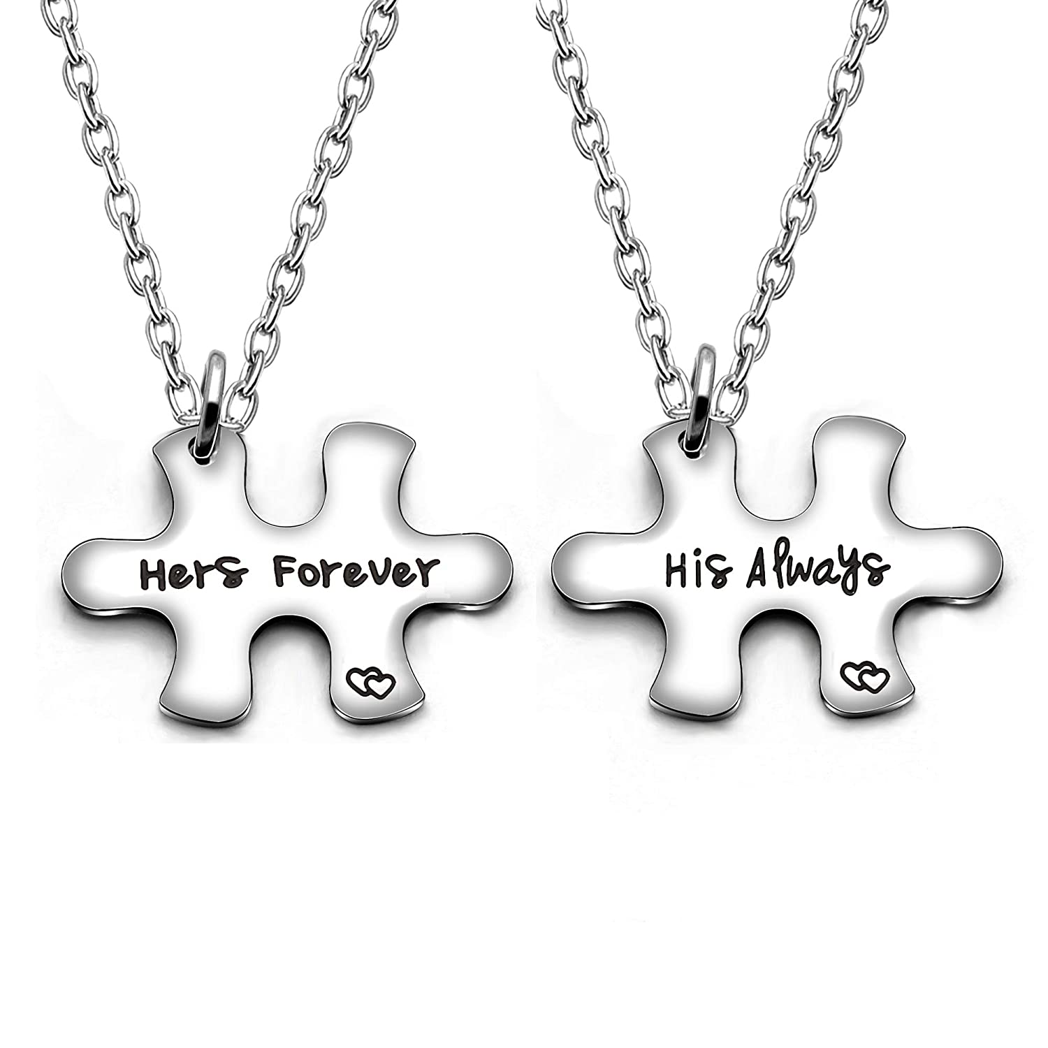 Amazon Couple Pendant Necklace Puzzles Valentine Birthday Gifts Boyfriend Girlfriend Jewelry Set 2pcs