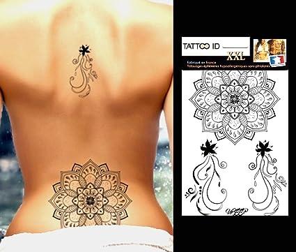 Tatuaje temporal para mujer rosa con flor, Tattoo ID XXL ...