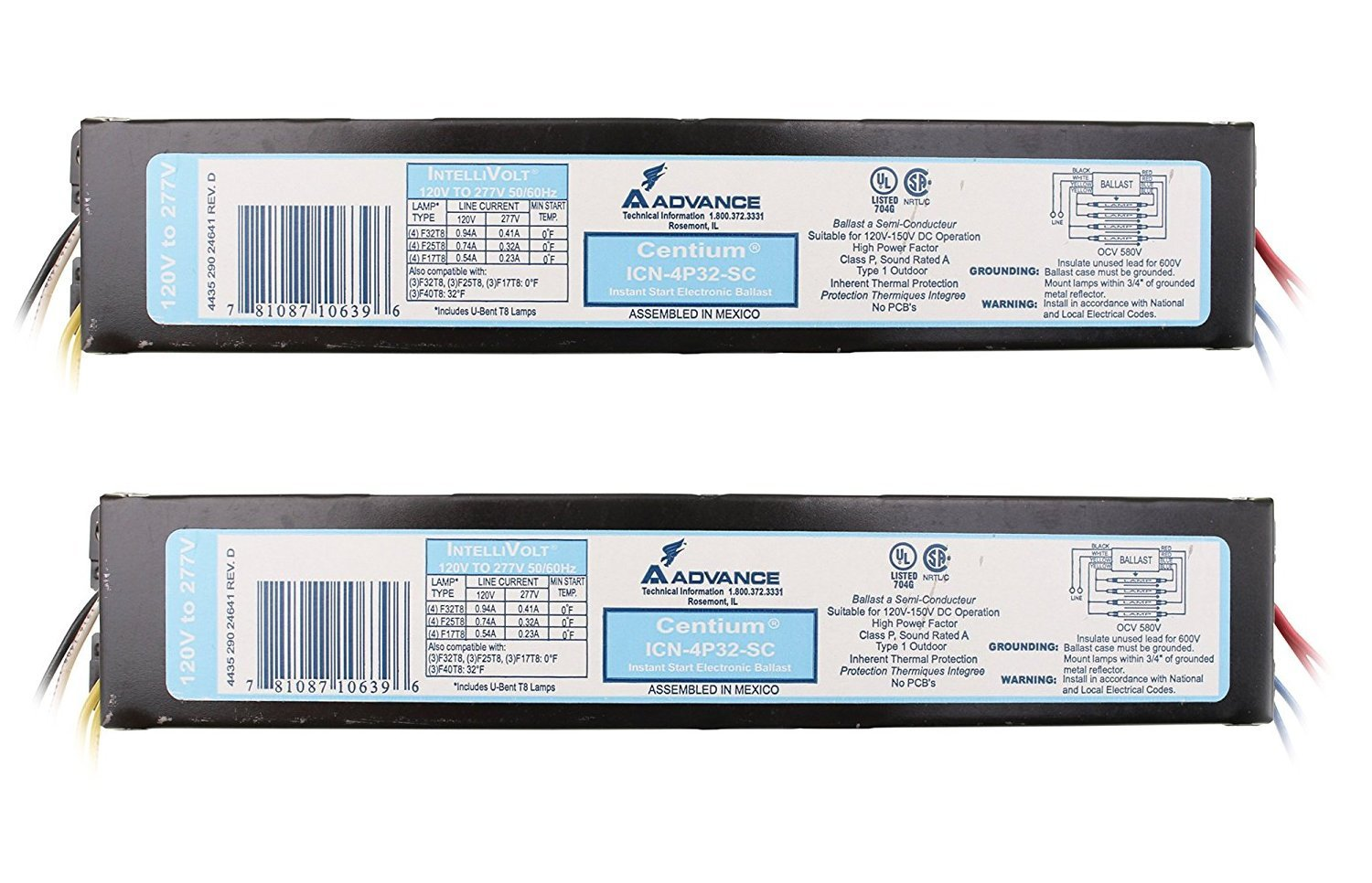 [2-Pack] Advance ICN-4P32-SC Electronic Fluorescent Ballast, 4 Lamp, 32W T8, 120/277V.