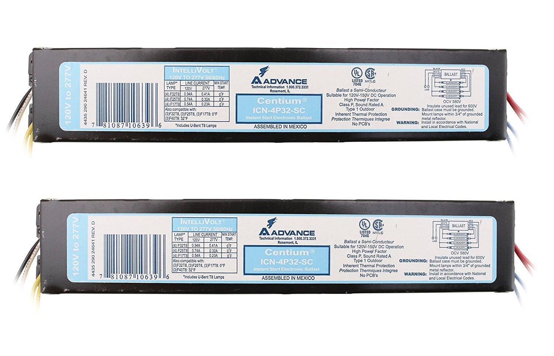 [2-Pack] Advance ICN-4P32-SC Electronic Fluorescent Ballast, 4 Lamp, 32W T8, 120/277V.