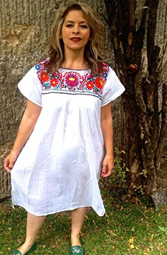 Women\'s Mexican Embroidered Dress Bohemian Tunic Plus Size