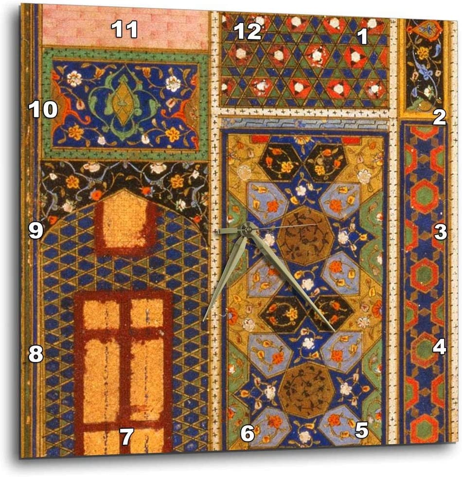 3dRose dpp_162526_1 Arabian Style Multicolor Abstract Pattern Colorful Turkish Moroccan Islamic Islam Muslim Vintage Art-Wall Clock, 10 by 10-Inch