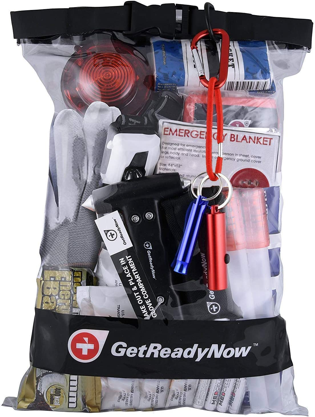 GetReadyNow | Vehicle Emergency Kits Earthquake & Disaster Survival Supplies | Compact, Convenient Design | Clear Waterproof Dry Bag with Emergency Essentials