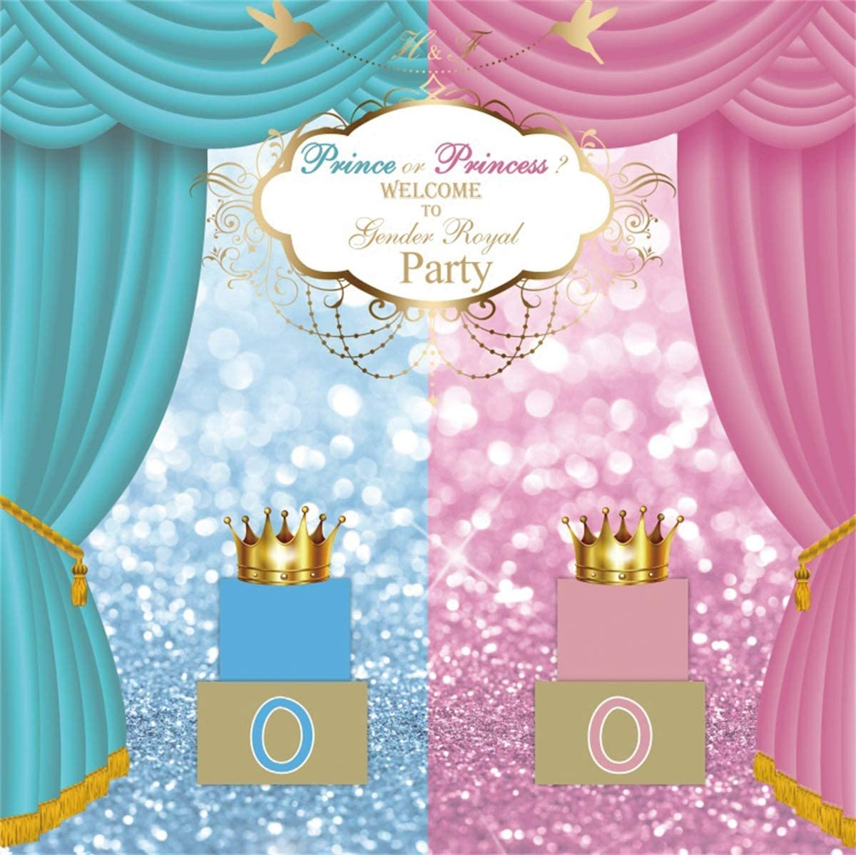 Yeele Gender Reveal Backdrop Prince or Princess 10x10ft Baby Shower Party Photography Backdrop Newborn Infant Kids Artistic Portrait Room Decoration Photo Booth Photoshoot Props Wallpaper