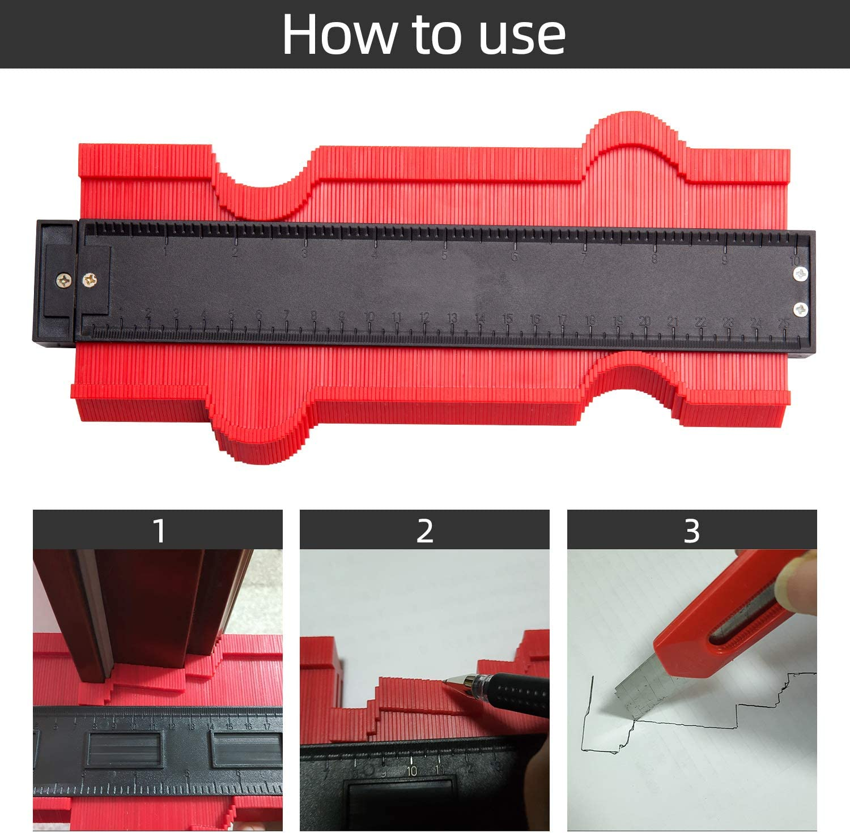 10 pouces Jauge de Profil Plastique Duplicateur de Contour 25 cm Irr/égulier Outil de Marquage de Profil Multifonction Jauges dal/ésage Jauge de Copie Rouge Jauge de Contour 25 cm