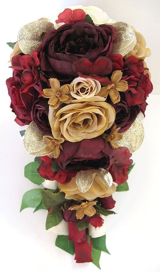 Wine Flower Bouquet, Bride Bouquet Fall Wedding Bouquet Silk Flower Bouquet Bridesmaid Bouquet Burgundy Bouquet Deep Red Bouquet