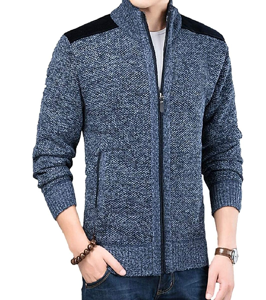 YIhujiuben Mens Thicken Knitted Zipper Long Sleeve Stand Collar Cardigan Sweaters
