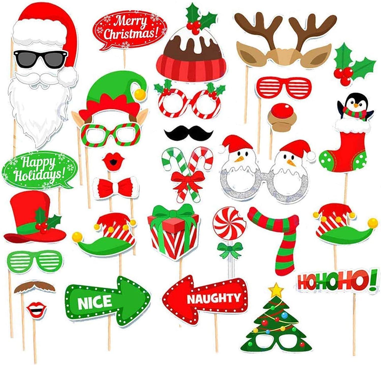 Accesorios de fotografía Xmas, Fiesta de Navidad Apoyos de Photo Booth, Accesorios Photobooth de Navidad, Navidad Photo Booth Props, Navidad Accesorios de Cabina de Fotos,Photocall Accesorios (32PCS)