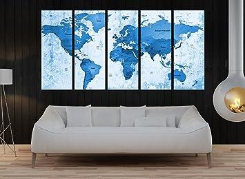 Amazon large world map push canvas set wall art blue world map large world map push canvas set wall art blue world map canvas framed modern freerunsca Images
