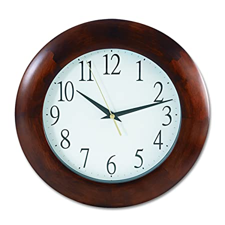 Universal 10414 Round Wood Clock, 12 3 4 , Cherry