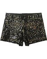 Slim Vintage High Waist Sequins Glitter Women's Hip-hop Sexy Boxers Shorts Pants
