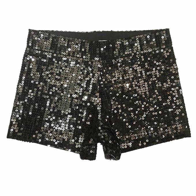35766913b7a Slim Vintage High Waist Sequins Glitter Women s Hip-hop Sexy Boxers Shorts  Pants Black