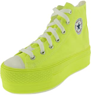 d7e5f0cd3da4 Maxstar Women's C50 7 Holes Zipper Platform Canvas High Top All Neon  Sneakers