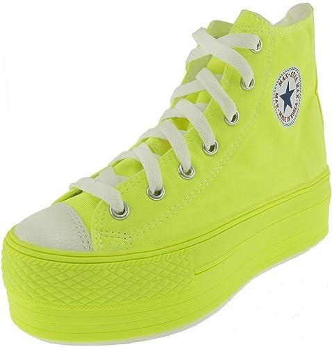 d58a7ff238d8d Maxstar Women's C50 7 Holes Zipper Platform Canvas High Top All Neon  Sneakers