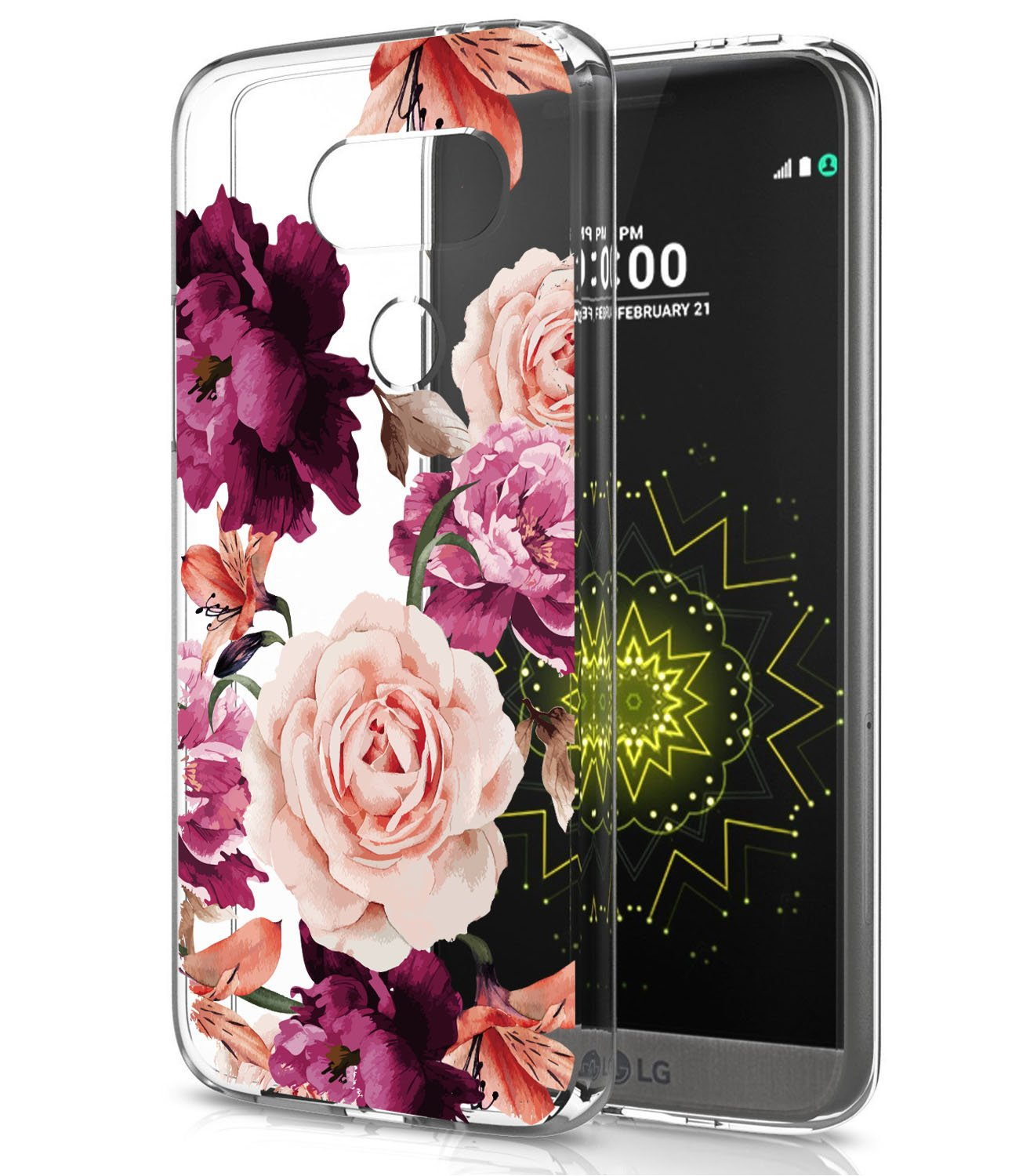 LG G5 Case, LG G5 Case with Flowers, BAISRKE Slim Shockproof Clear Floral Pattern Soft Flexible TPU Back Cove for LG G5 VS987/H820/LS992/H830/US992 [Purple Pink]