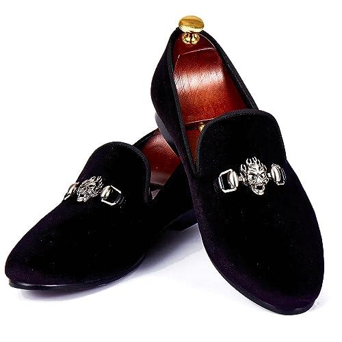 Calavera Hecho Zapatos Vestido Hombres De Loafers Terciopelo Hebilla orxeCBd