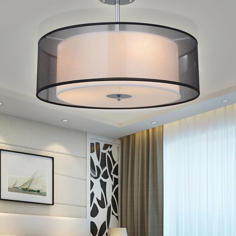Semi-Flush Chrome Shining SPARKSOR Pendant Light Shade Ceiling Light,SPAKRSOR Modern Fabric for Bedroom Living Room E26 3 Bulbs 2 Tiers Round Pendant Lamp Large Black Drum Lampshade Energy Class A++