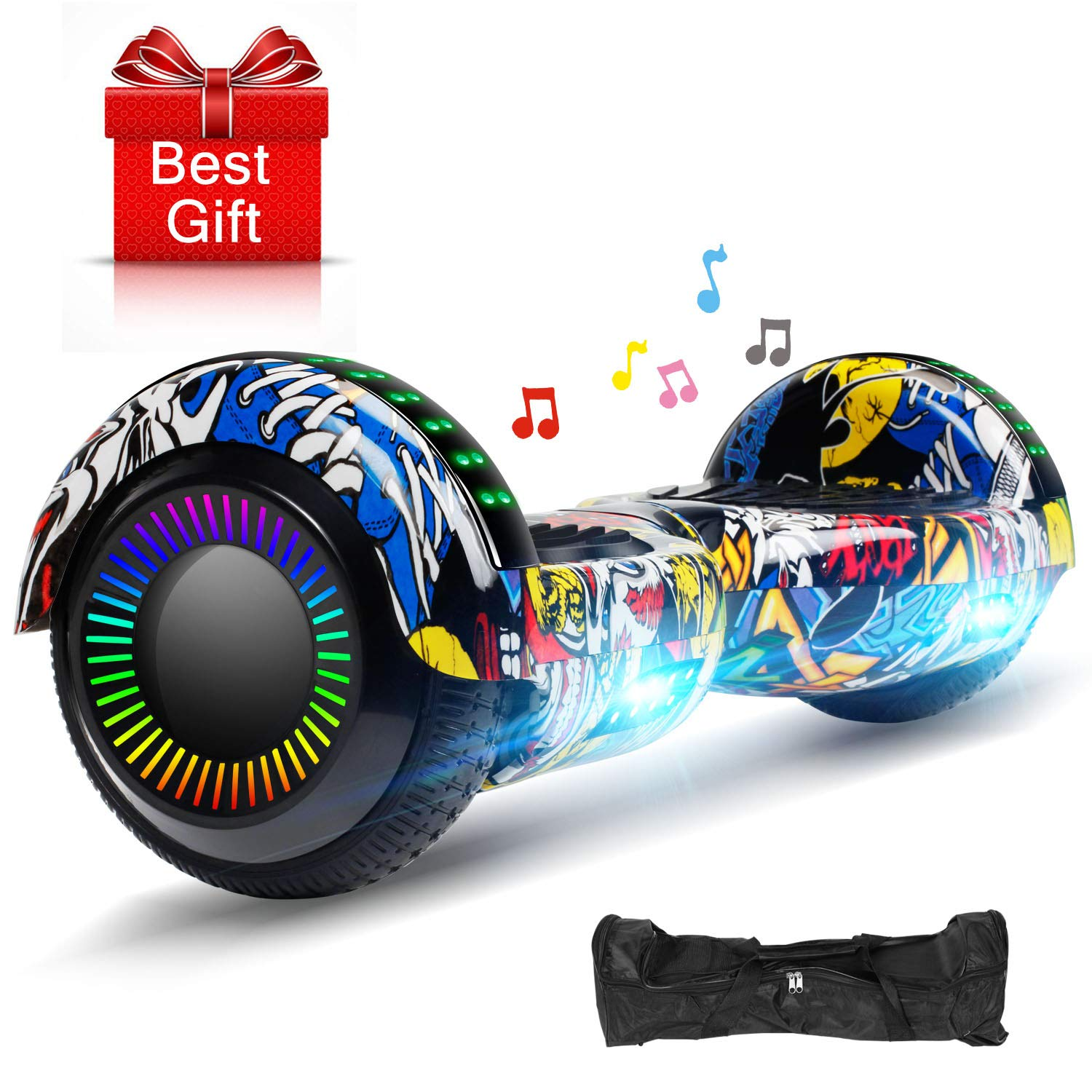 EPCTEK Hoverboards Smart Scooter Two-Wheel Self Balancing Electric Scooter for Kids Adult Gifts UL 2272 Certified with LED Wheels Lights Carry Bag Black