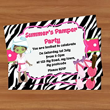 10 x personalised birthday party invitations pi01 pamper spa