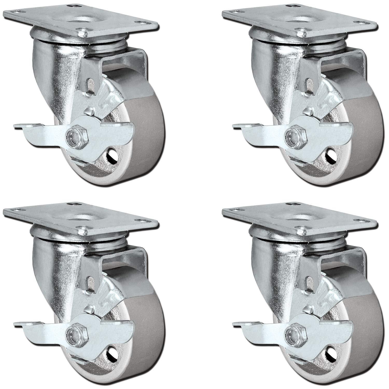 """8 All Steel Swivel Plate Caster Wheels Lock Heavy Duty Gray 3.5/"""" With Brake"""