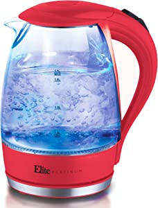 Elite Platinum EKT-300R Glass Electric Tea Kettle Hot Water Heater Boiler BPA Free with LED Indicator, Fast Boil and Auto Shut-Off, 1.7L, Raspberry Red