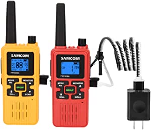FRS Two Way Radio 22CH, 1250mAh USB Rechargeable Battery LCD Display LED Flashlight, Walkie Talkies License Free 36 Miles Long Range with Group/VOX/SCAN/NOAA Weather Alert/Call Function (Yellow+Red)