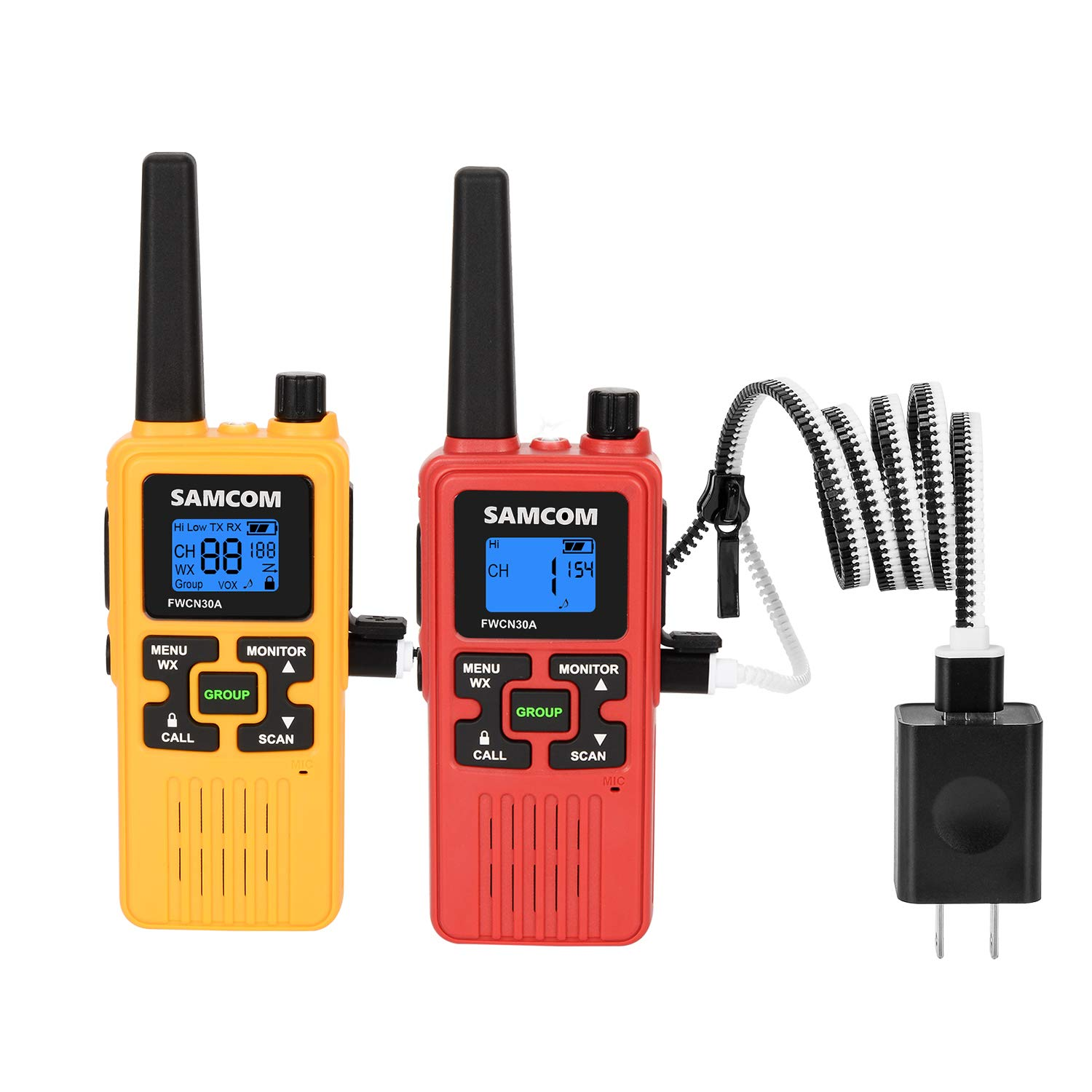 FRS Two Way Radio 22CH with 1250mAh Rechargeable Battery LCD Display LED Flashlight, License Free Walkie Talkies 36 Miles Long Range with Group VOX SCAN NOAA Call Alert Function (Yellow+Red) by SAMCOM