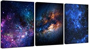 "Juntung Canvas Wall Art Outer Space Fantastic Artwork Nebula Galaxy Canvas Art Contemporary Artwork Picture Print Framed Ready to Hang for Home Wall Decor 12"" x 16"" x 3 Panels"