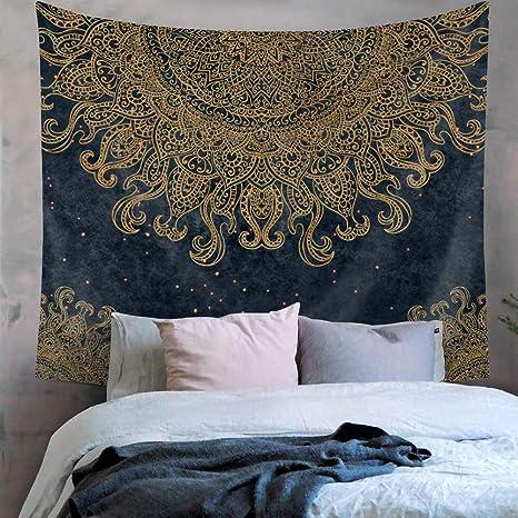 Amazon Kmnovo Psychedelic Blue Mandala Wall Tapestry Gold