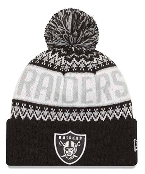 Image Unavailable. Image not available for. Color  Oakland Raiders New Era  NFL  quot Wintry Pom quot  Cuffed Knit ... 5f4a603ee