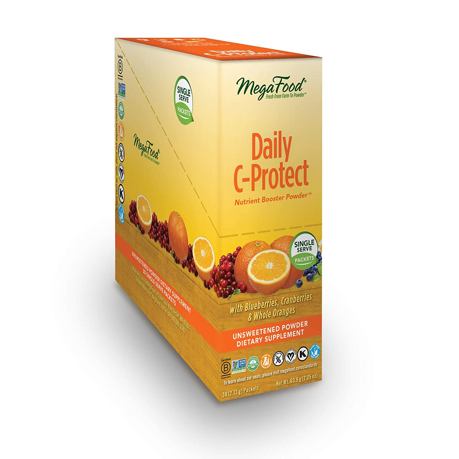 MegaFood - Daily C-Protect Booster Powder, Nourishes The Immune System Naturally, 30 Singles