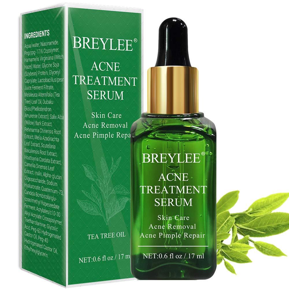 Acne Treatment Serum, BREYLEE Tea Tree Clear Skin Serum for Clearing Severe Acne, Breakout, Remover Pimple and Repair Skin (17ml,0.6oz) by BREYLEE