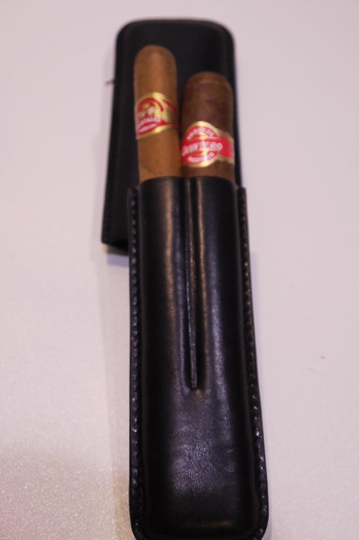 Schwarz Leder Zigarrenetui 2/Zigarren