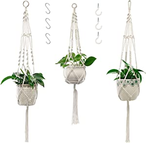 Macrame Plant Hangers with Hooks 3 Pack Hanging Plant Pots Holder for Indoor Outdoor Boho Home Garden Patio Balcony Ceiling Decorations
