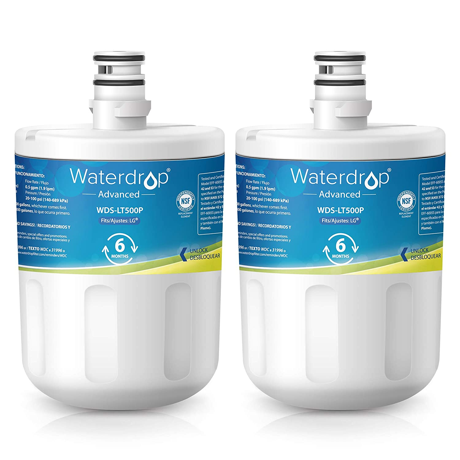 Waterdrop NSF 53&42 Certified LT500P Replacement Refrigerator Water Filter, Compatible with LG LT500P, 5231JA2002A, ADQ72910901, Kenmore GEN11042FR-08, 9890, 46-9890, Advanced Series, Pack of 2