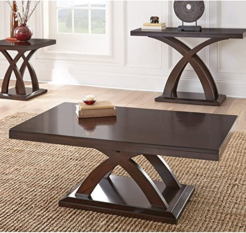 35 Inch Coffee Tables with Storage Shelf, 2 Tier Hillside Rustic Aaccent Table with Metal Legs, Round Industrial Design End Table for Living Room