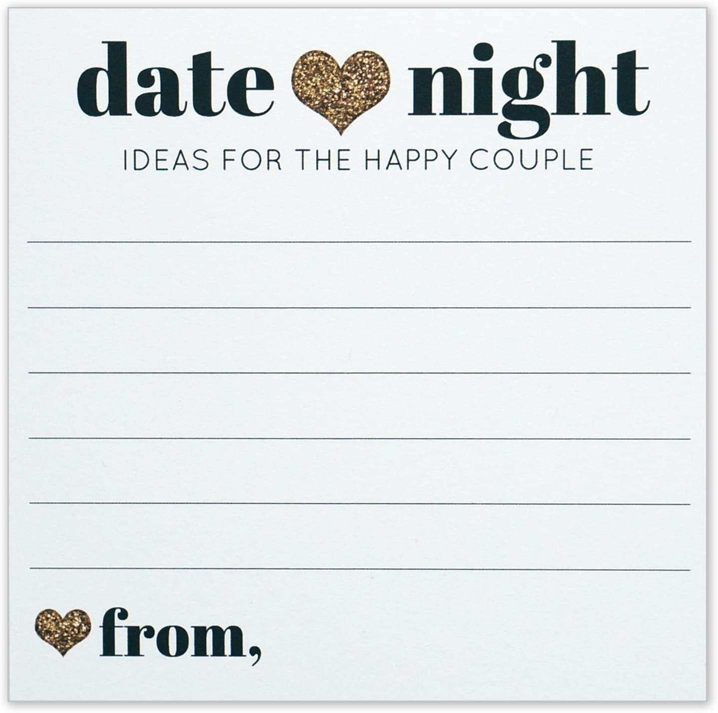 Amazon Com Date Night Ideas For The Happy Couple Idea Jar Card Wedding Advice Cards Gold Heart 4x4 Square Pack Of 40 Office Products