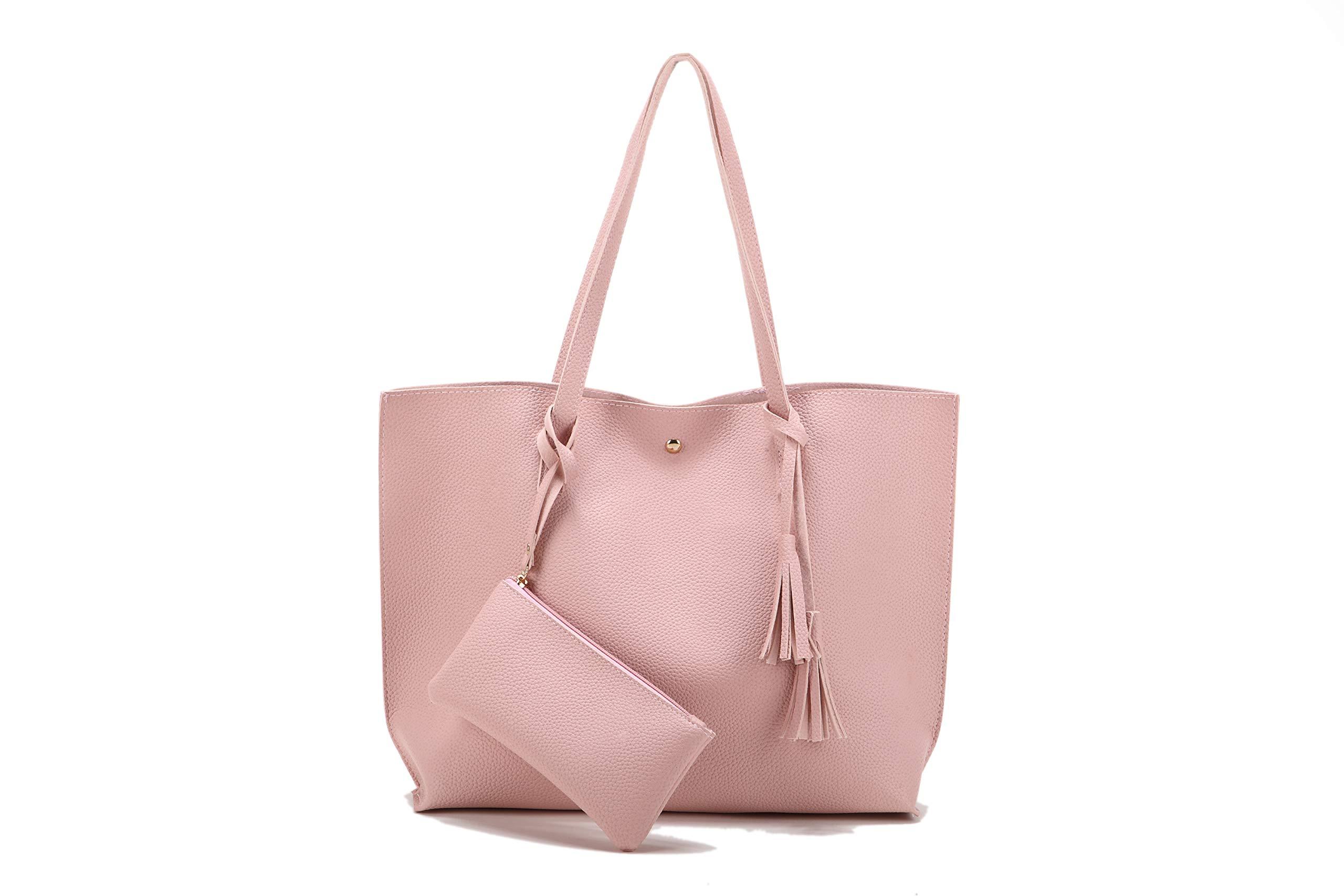 Nodykka Women Tote Bags Shoulder Top Handle Satchel Handbags PU Pebbled Leather Tassel Purse With Wallet