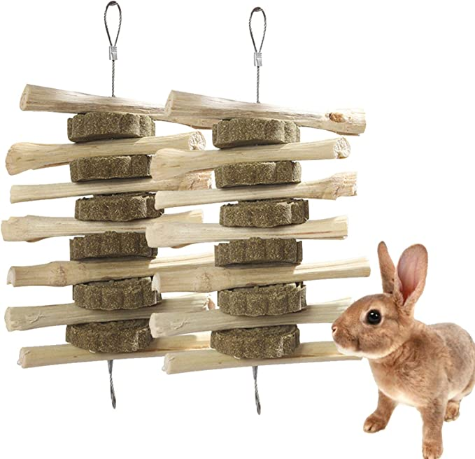 Natural de mascar para Mascotas Que juegan los Juguetes para Conejos Cobayas Hamsters Chinchilla Animales de compa/ñ/ía Snacks Juguetes con la Hierba de la Torta Palos Timoteo heno Hierba