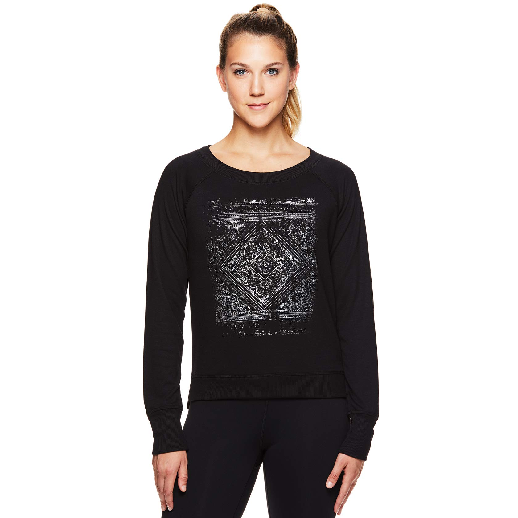 Gaiam Women's Pullover Yoga Sweater - Long Sleeve Graphic Activewear Shirt - Calla Popover Black, Medium by Gaiam