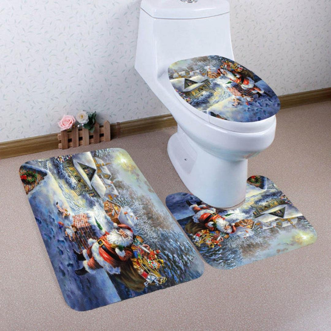 Colorful(TM 3pcs/set Christmas Bathroom Decor Non-Slip Europe Style Pedestal Rug + Lid Toilet Cover + Bath Mat (B)