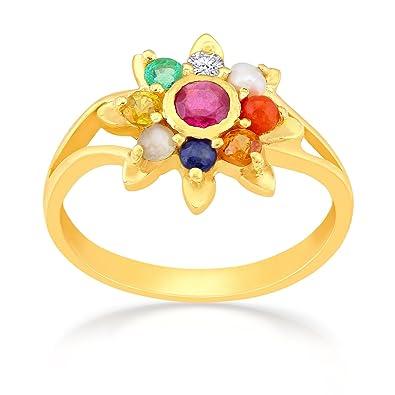 Buy Malabar Gold and Diamonds 22k 916 Yellow Gold Navaratna Ring