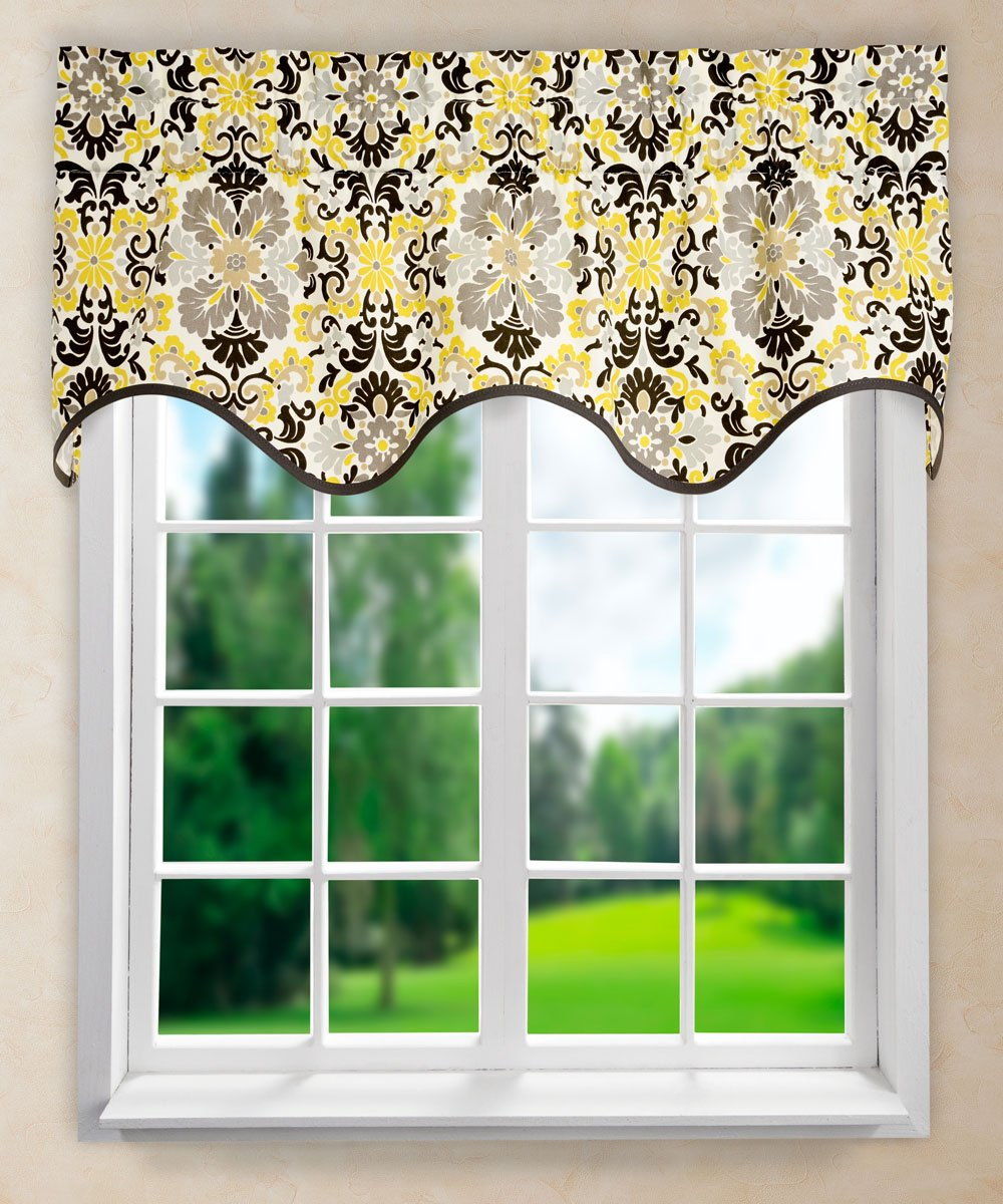 "Ellis Curtain Folk Damask Wave Valance, 50 x 15"", Lemondrop"