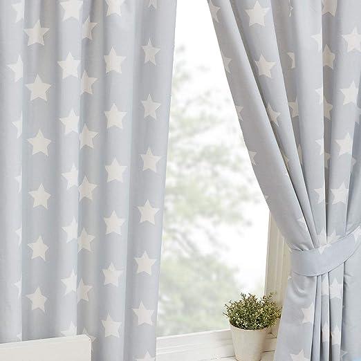 Cortinas infantiles con forro, de color gris con estrellas blancas, 168 x 137 cm, ideales para el dormitorio de los niños: Amazon.es: Hogar