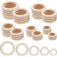 Houten ringen, 50 stuks natuurlijke houten ringen voor ambachtelijke 5 maten ronde ringen voor ambachtelijke doe-het…