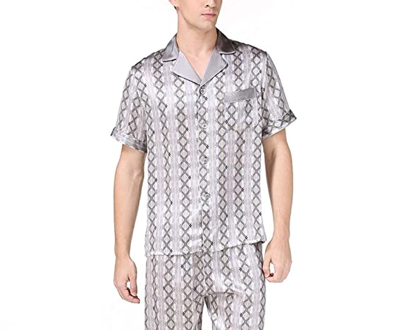 Amazon.com: Silk Pyjama Sets Mens Short Sleeves Pajamas Homewear Male Silk Pijama Hombre Verano Summer: Clothing