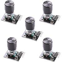 Hikig 5 st KY-040 roterande kodarmodul med 15 × 16,5 mm med knopplock för Arduino (paket med 5) HKT1062