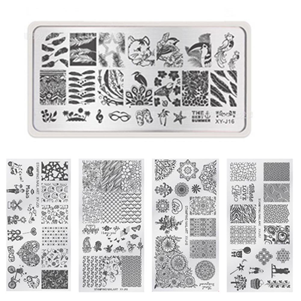 Nail Stamping Plaque Nail Art Tampon Stamping Plaques Modèle Nature Printemps 5 Feuilles Ongle Pochoir Feuille Manucure Modèles d'image Imprimer Nail Art DIY Assiettes (XY-J16 - XY-J20) X 1 Naisicatar