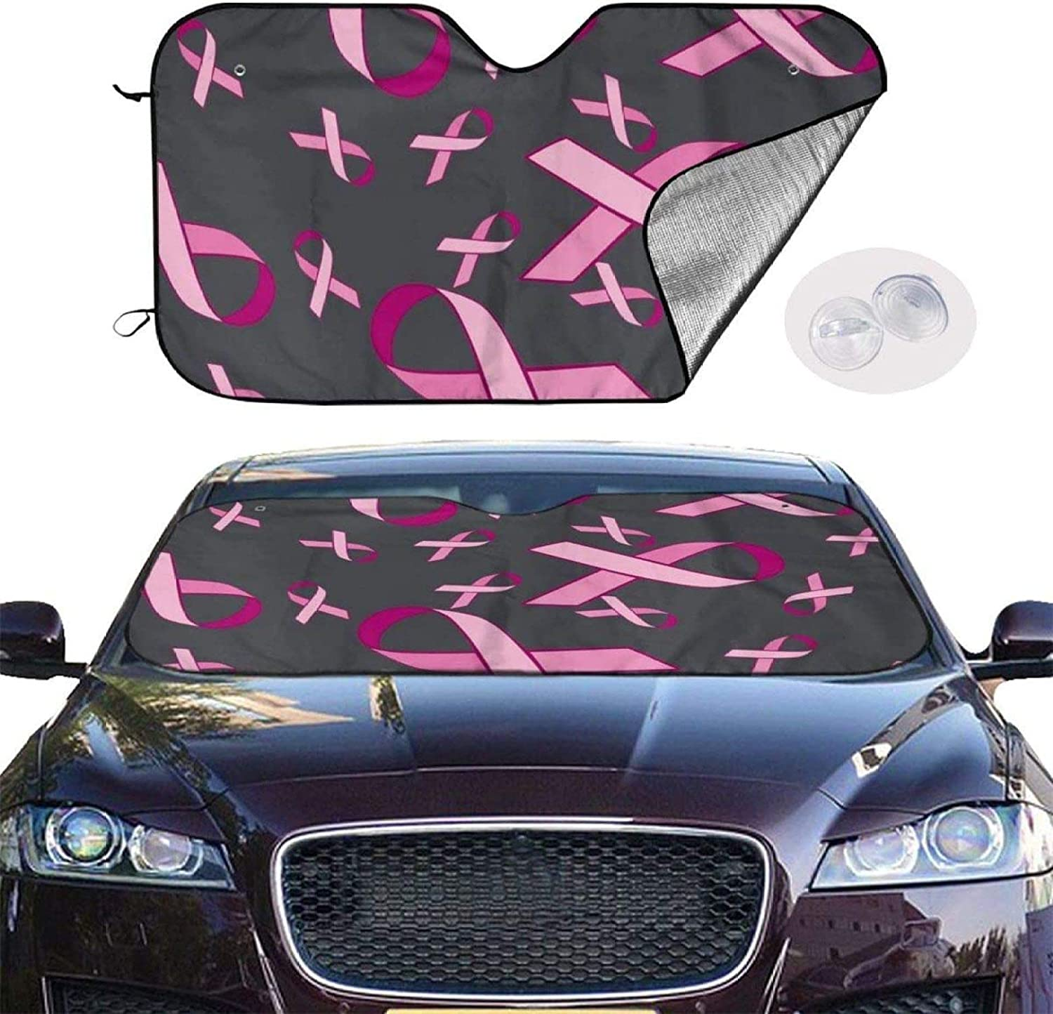 Thewar Breast Cancer Awareness Pink Ribbon Car Windshield Sunshade Foldable Front Window Windscreen Cover Fit UV Ray Reflector Outdoor Vehicle Accessories