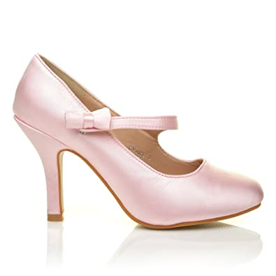 40b9d91049b CHARLOTTE Baby Pink Satin High Heel Bridal Bow Mary Jane Shoes .